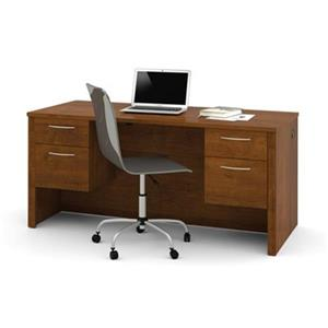 Bestar Embassy 30.40-in x 66-in Medium Brown Executive Desk with Dual Half Pedes
