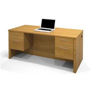 Bestar Embassy 30.40-in x 66-in Light Brown Executive Desk with Dual Half Pedes