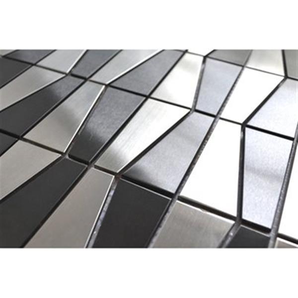 Tuile murale/dosseret trapèze, inox gris noir, 11 mcx