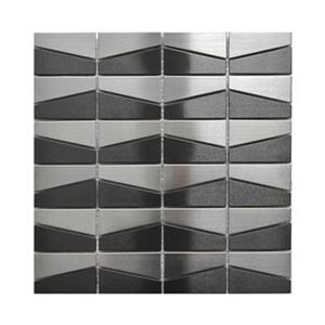 Modern Trapezoid Tile - Black/Stainless Steel - 11-Pack.