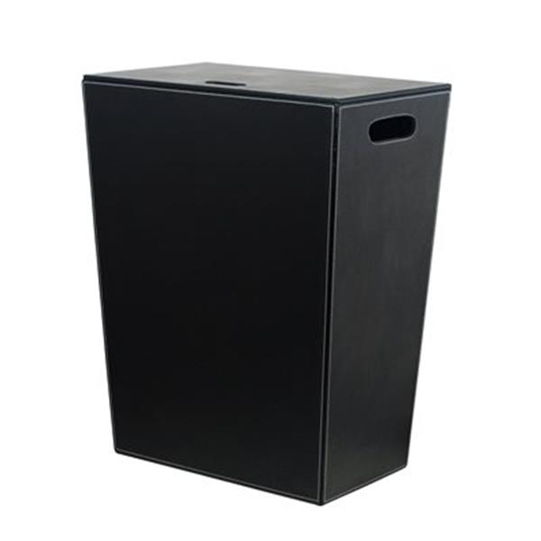 WS Bath Collections  Complements Black Leather Laundry Hamper
