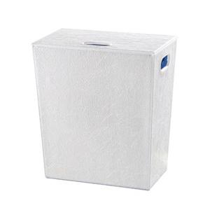 WS Bath Collections Perle Complements White Leather Laundry Hamper