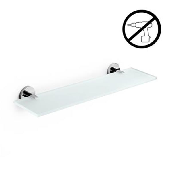 WS Bath Collections Duemila Glue 4.5-in x 19.4-in x 0.3-in Self-Adhesive Frosted Glass Bathroom Shelf With Chromed Brass Base