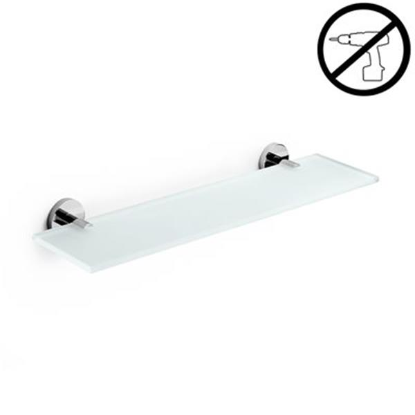 WS Bath Collections Duemila Glue 4.5-in x 31.2-in x 0.3-in Self-Adhesive Frosted Glass Bathroom Shelf With Chromed Brass Base