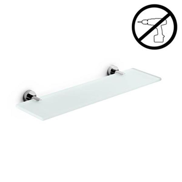 WS Bath Collections Spritz Glue 4.5-in x 23.3-in x 0.3-in Self-Adhesive Frosted Glass Bathroom Shelf With Chromed Brass Base