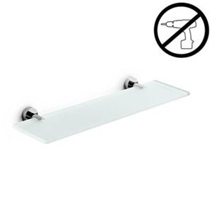 WS Bath Collections Spritz Glue 4.5-in x 31.2-in x 0.3-in Self-Adhesive Frosted Glass Bathroom Shelf With Chromed Brass Base