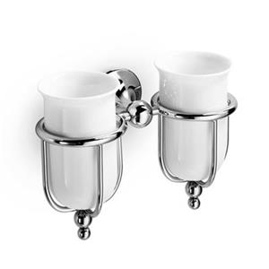 WS Bath Collections Venessia Self-Adhesive Double Holder With Ceramic Tumblers