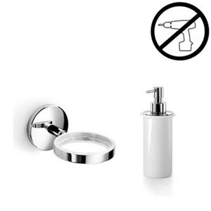WS Bath Collections Noanta 6.90-in Polished Chrome Glue Self-Adhesive Single Holder