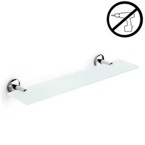 WS Bath Collections Noanta Glue 4.5-in x 15.4-in x 2.2-in Self-Adhesive Frosted Glass Bathroom Shelf With Chromed Brass Base