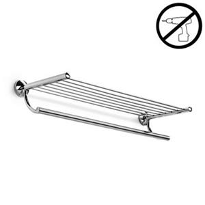 WS Bath Collections Noanta Glue 9.3-in x 25.8-in x 4.9-in Chromed Brass Self-Adhesive Towel Rack With Hanging Towel Rail
