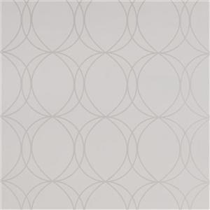 Graham & Brown 56 sq ft White/Mica Geometric Unpasted Wallpaper