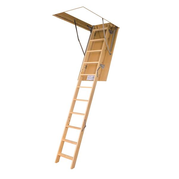 "Folding Attic Ladder - 27.5"" x 47"" - Wood - Clear"
