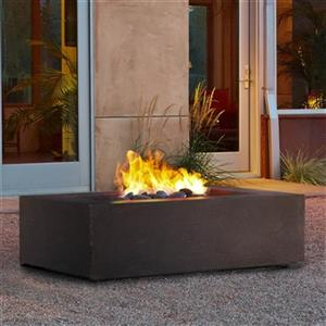Baltic Rectangle Natural Gas Fire Table - Kodiak Brown