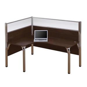 Bestar Pro-Biz 55.50-in x 74.30-in Chocolate Brown Single L-Desk Workstation