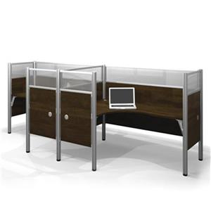 Bestar Pro-Biz 55.50-in x 146-in Chocolate Brown Double Side by Side L-Desk Workstation