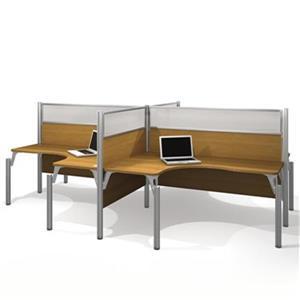 Bestar Pro-Biz 55.50-in x 146-in Cappuccino Four L-Desk Workstation