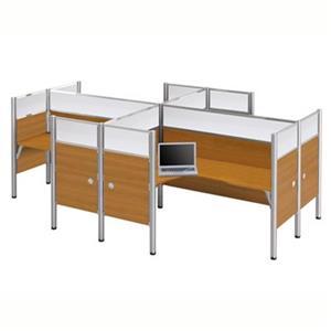 Bestar Pro-Biz 55.50-in x 100.10-in Cappuccino Cherry Four L-Desk Workstation