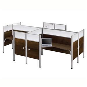 Bestar Pro-Biz 55.50-in x 100.10-in Chocolate Brown Four L-Desk Workstation
