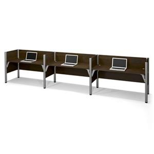 Bestar Pro-Biz 55.43-in x 182.30-in Chocolate Brown Triple Side by Side Workstation