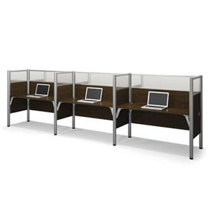 Bestar Pro-Biz 55.50-in x 182.30-in Chocolate Brown Triple Side by Side Workstation
