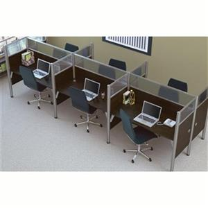 Bestar Pro-Biz 55.50-in x 182.30-in Chocolate Brown Six Workstation