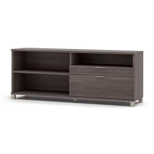 Bestar Pro-Linea 28.40-in x 70.10-in Bark Grey 2 Drawer Credenza
