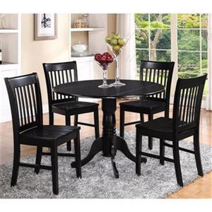 East West Furniture Dublin Black 3-Piece Round Dining Set
