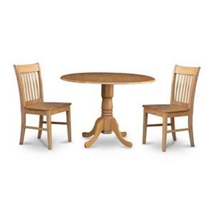 East West Furniture Dublin Natural Oak 3-Piece Round Dining Set