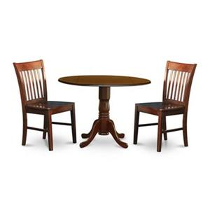 East West Furniture Mahogany 3-Piece Round Dining Set