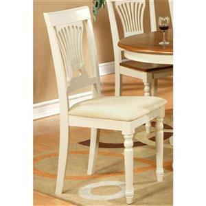 East West Furniture Plainville 38-in x 18-in White Upholstered Dining Chair (Set of 2)