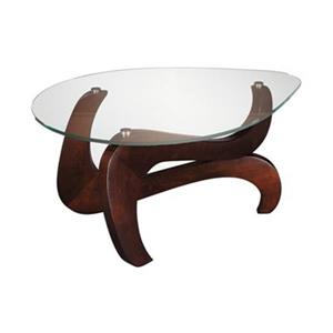 Stein World Nassau-Shaped 53.9-in x 43.25-in Brown Wood Glass Top Coffee Table