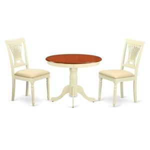 East West Furniture 3-Piece Antique Round Table Dining Set w