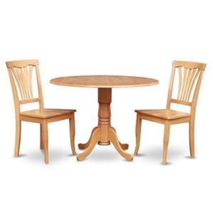 East West Furniture Dublin Light Oak 3-Piece Round Drop-Leaf Dining Set