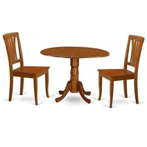 East West Furniture Dublin Round Drop Leaf Table Dining Set