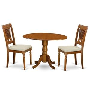 East West Furniture Dublin Wood 3-Piece Round Drop-Leaf Dining Set