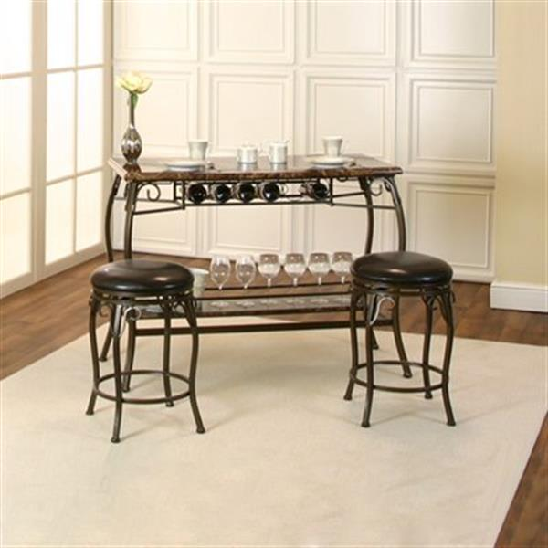 Sunset Trading Tiffany Bar With Built-In Wine Rack and Stools | Bronze Metal/Brown Faux Marble Top