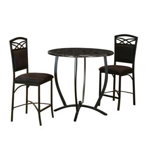 Sunset Trading Sierra Black 3-Piece 36-in Round Counter Height Pub Dining Set