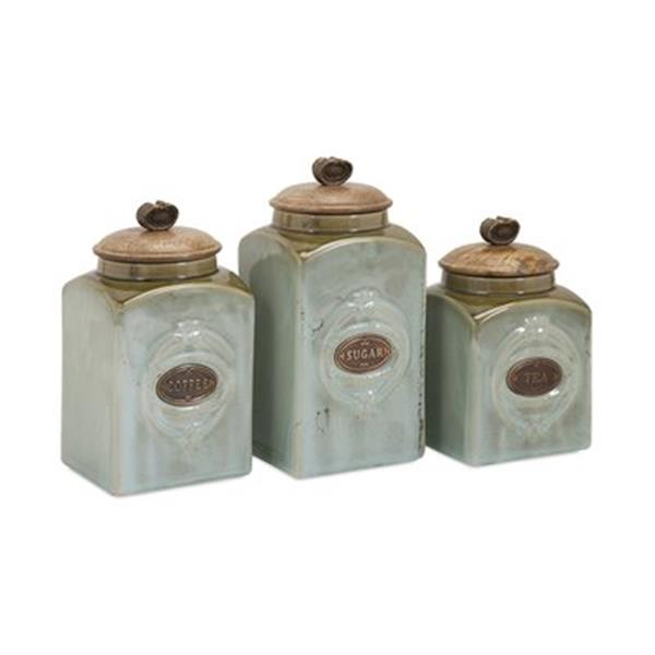 IMAX Worldwide Addison Grey Ceramic Canister Set (3 Pieces)