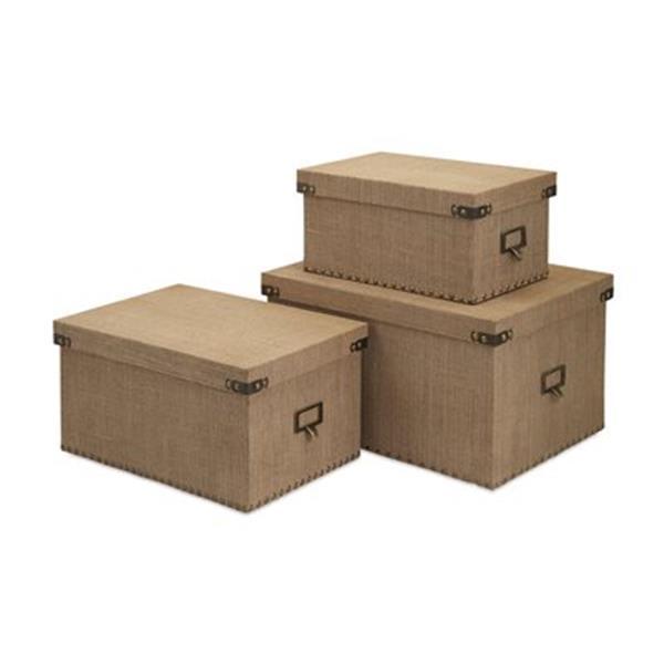 IMAX Worldwide Brown Corbin Storage Boxes (Set of 3)
