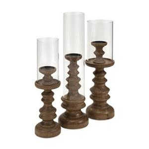 IMAX Worldwide Bailey Wood Candleholders (Set of 3)