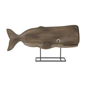 IMAX Worldwide Mango Wood/Metal Achilles Carved Wood Whale Statuary