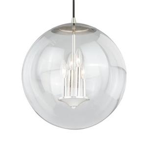 Cascadia 630 Series 4-Light Nickel Mid-Century Modern Globe Pendant Light
