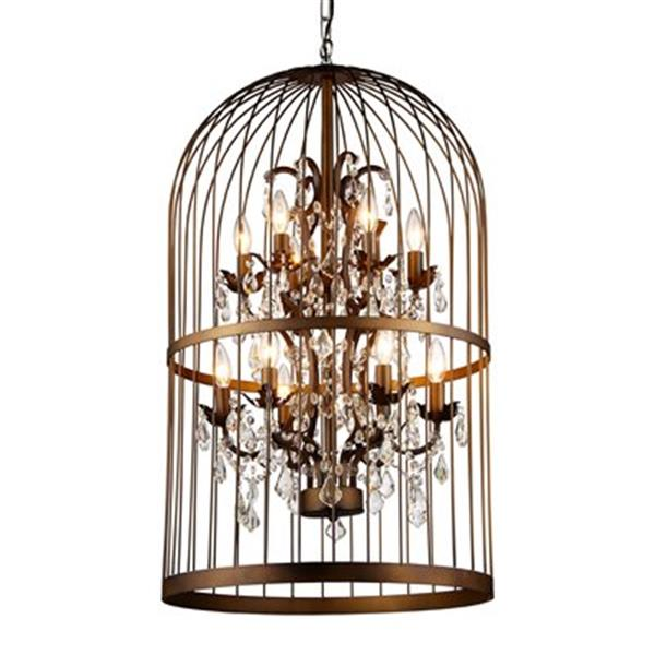 Warehouse of Tiffany 22-in x 33-in Antique Bronze Rinee Cage Foyer Light