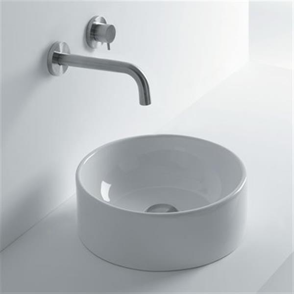 WS Bath CollectionsNormal13.8-in x 13.8-in Ceramic White Vessel Bathroom Sink