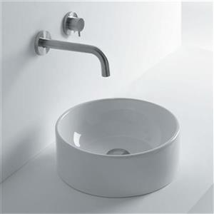 WS Bath Collections Normal 13.8-in x 13.8-in Ceramic White Vessel Bathroom Sink