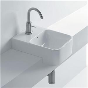 WS Bath Collections Normal 13.8-in x 13.8-in Ceramic White Rectangular Semi-recessed Bathroom Sink