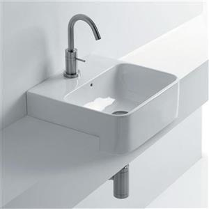 WS Bath Collections Normal 17.7-in x 13.8-in Ceramic White Semi-recessed Bathroom Sink