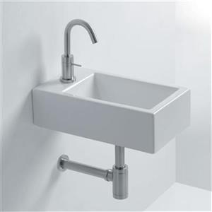 WS Bath Collections Whitestone 17.7-in x 9.8-in Ceramic White Wall Mounted Bathroom Sink
