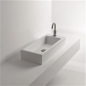 WS Bath Collections Whitestone Ceramic White Wall Mounted / VesselBathroom Sink