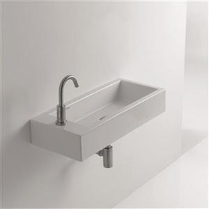WS Bath Collections Whitestone 27.6-in x 11.8-in Wall Mounted / Vessel Bathroom Sink
